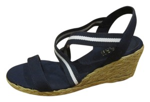 Lauren Ralph Lauren Nautical Woven Navy and White Sandals