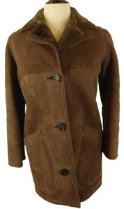 Abercrombie & Fitch Suede Shearling Warm Fur Coat