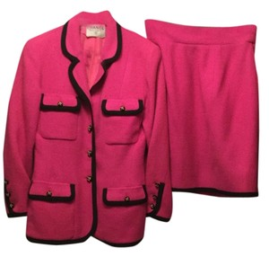 Chanel $6,000 SPRING Boutique Boulce Pink 14 Buttons Ribbon Skirt Jacket Suit 40