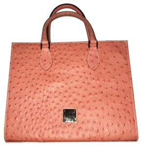Dooney & Bourke Leather Studded Ostrich Silver Hardware Satchel in Coral