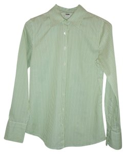 J.Crew Button Down Shirt Green/white stripes