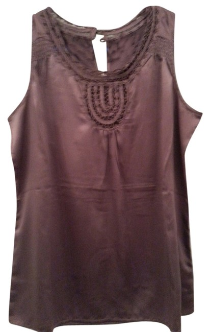 Banana Republic Lacey Neckline Satin Out Layering Satin Top Soft Light Purple