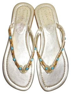 Gianni Bini Leather Thong Beaded Turquoise gold Sandals
