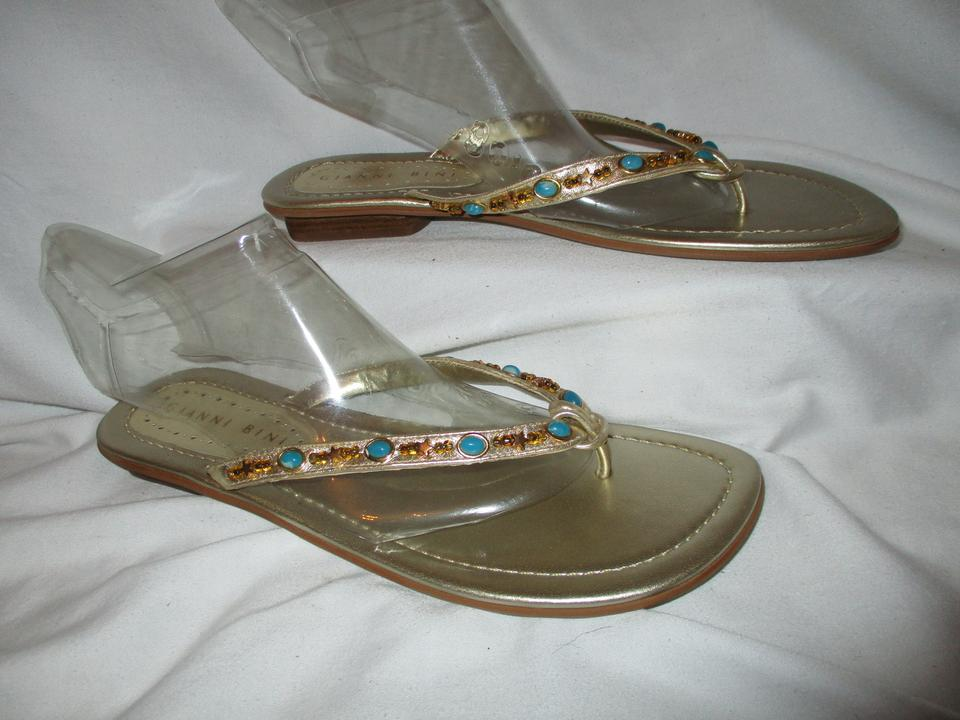 0c30508267a9 Gianni Bini Gold Abbey Leather Beaded Thong Sandals Size US 8.5 ...