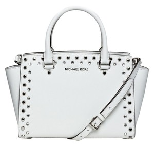Michael Kors Khaki Studded Shoulder Mk Satchel in Optic White