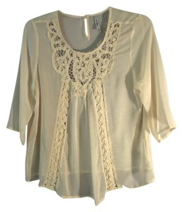 Other Lace Trim Sheer Top ivory