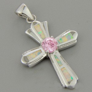 Pink Topaz Opal Cross Free Chain & Shipping