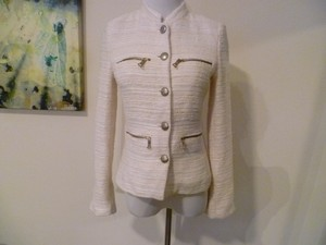 Zara Off White Ivory Boucle Tweed Blazer