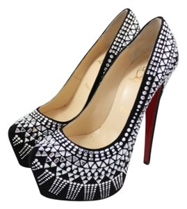 Christian Louboutin Strass Decora 160mm Crystal Sparkle Embellished Geometric Black Suede Platforms