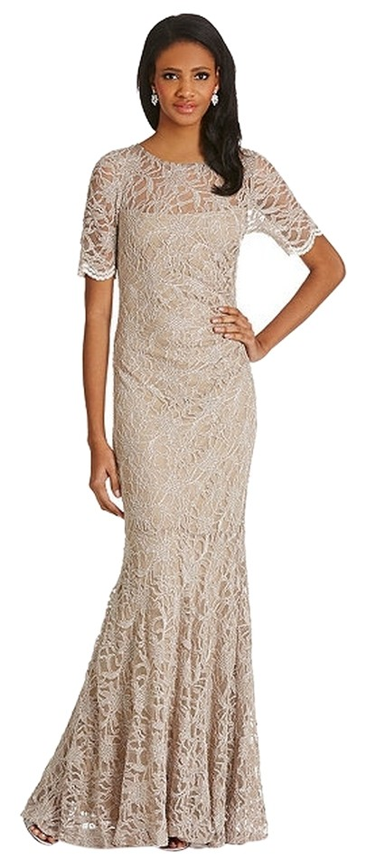 Decode 1.8 Taupe (Cocoa) Sequined Lace Mermaid Gown / Long Formal ...