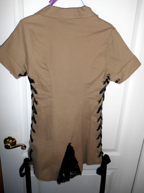 Other Military Mini Ribbon Lace Up Sides Sexy Heavy Fabric Lace Lace Trim Dress