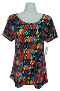 NY Collection Shirt Large Short Sleeve Red Blue Orange Yellow Black Made In Usa Ny Top Multi-color