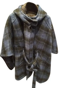 Coach Plaid Cape Wool Navy Pea Coat