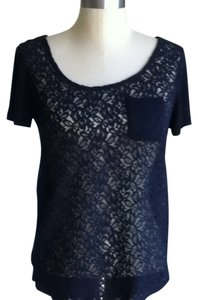 Nordstrom Summer Sheer Lace Top Black