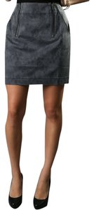 Charlotte Ronson Jacquard Zip Mini Skirt Gray