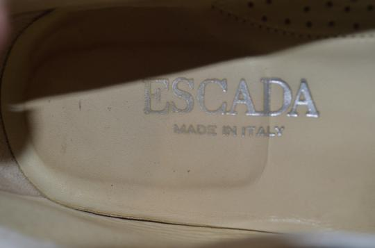 Escada Vintage Patent Leather Fur Upper Winter white Flats