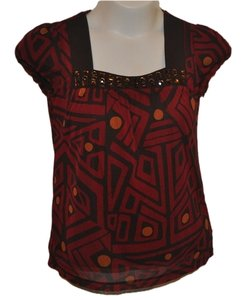 Apt. 9 Tee Style Square Neck Top red/brown/orange