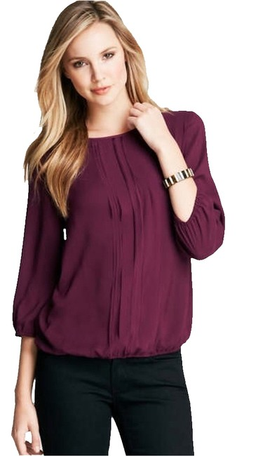 Preload https://item5.tradesy.com/images/ann-taylor-port-cascade-ribbon-bubble-blouse-size-2-xs-1050739-0-0.jpg?width=400&height=650