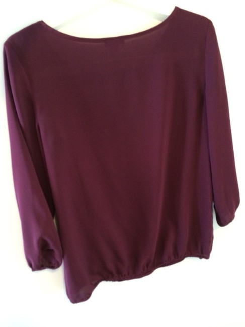 Ann Taylor Ribbon Plum Bubble 3/4 Sleeves Top Port