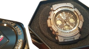 Casio 3ct Diamond Casio G-Shock AWG100 Custom Made