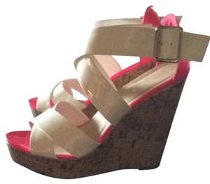 Madden Girl White/Hot Pink Wedges