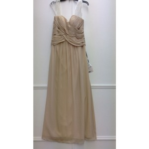 Bari Jay Beige Chiffon Formal Bridesmaid/Mob Dress Size 14 (L)