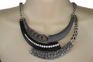 Preload https://item3.tradesy.com/images/women-silver-necklace-black-metal-plate-chains-half-moon-fashion-jewelry-earring-10508647-0-0.jpg?width=440&height=440