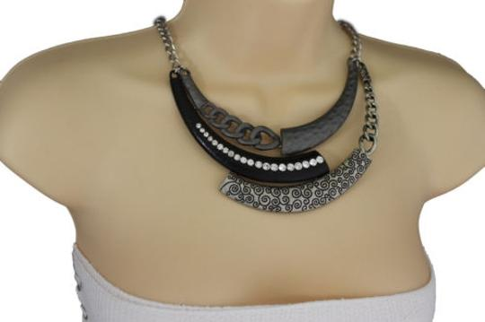 Other Women Silver Necklace Black Metal Plate Chains Half Moon Fashion Jewelry Earring