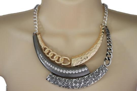 Other Women Gold Necklace Black Metal Plate Chains Half Moon Fashion Jewelry Earrings