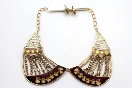 Other Women Gold Short Bib Necklace Metal Chains Collar Spikes Fashion Jewelry Earring