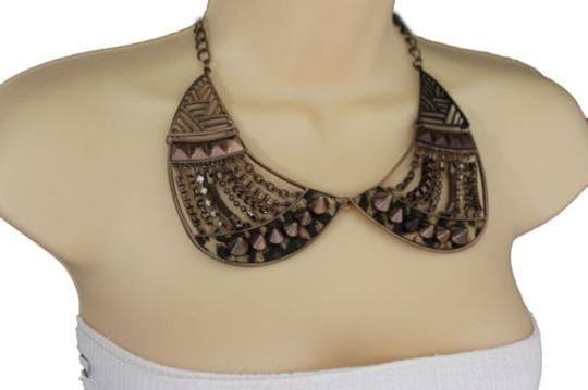 Other Women Bronze Short Bib Necklace Metal Chains Collar Spikes Beads Fashion Earring
