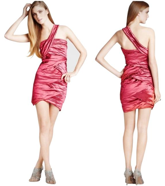 Preload https://img-static.tradesy.com/item/10508779/nicole-miller-pink-hibiscus-metallic-one-shoulder-ruched-above-knee-cocktail-dress-size-0-xs-0-1-650-650.jpg
