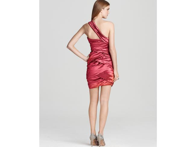 Nicole Miller Metallic One Shoulder Ruched Dress