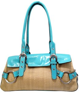 Adrienne Vittadini Leather Straw Satchel in Turquoise Blue