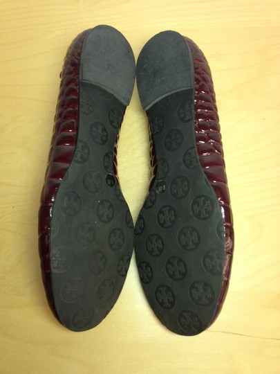 Tory Burch Patent Leather Croc Burgundy Flats