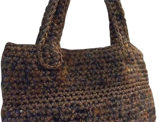 LA Norman Register Gold Metallic Crochet Hand-made Macrame Satchel in Muticolored