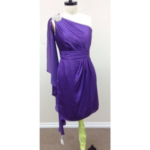 Pronovias Amethyst Satin Hispanica Formal Bridesmaid/Mob Dress Size 8 (M)