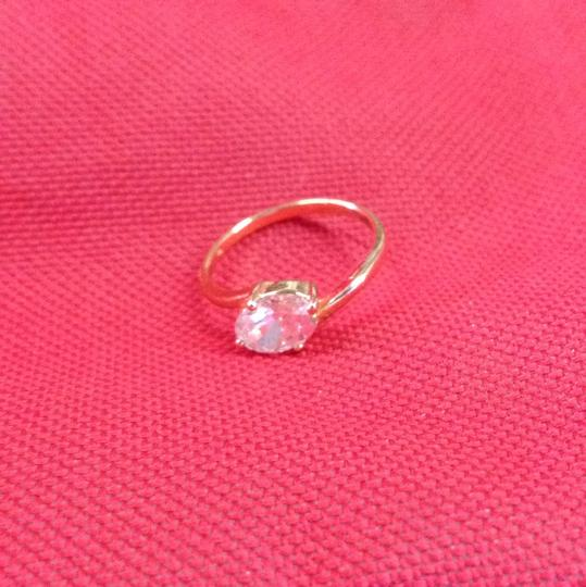 Gold Bogo Free White Topaz Solitaire Free Shipping Engagement Ring