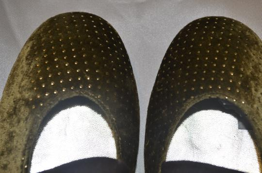 Miss Cristian Studded Suede Velour Leather Flats