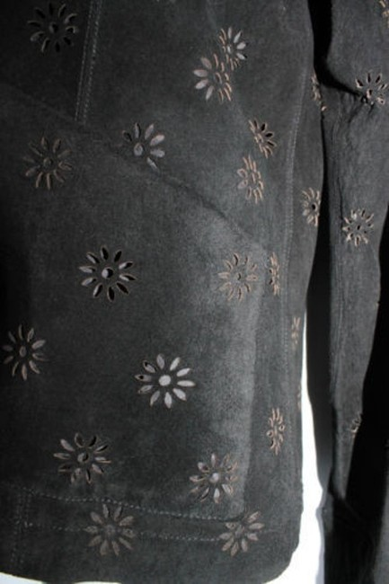 DON'S COLLECTION Laser Cut Suede black Leather Jacket