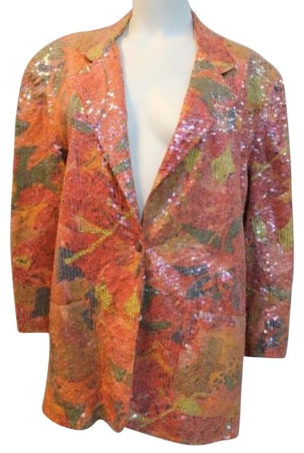 Preload https://img-static.tradesy.com/item/10510852/orange-sandy-starkman-embellished-print-single-breasted-cocktail-jacket-m-blouse-size-8-m-0-2-650-650.jpg