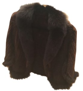 Knitted Mink Fox Collar Cape