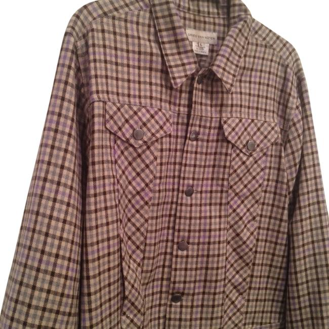 Preload https://item3.tradesy.com/images/dries-van-noten-plaid-tan-brown-purple-spring-jacket-size-12-l-10511467-0-1.jpg?width=400&height=650