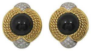 Vintage 1960's Vintage Onyx wrapped in gold rope earrings