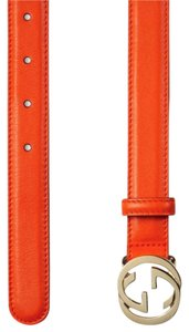 Gucci GUCCI INTERLOCKING GGs BELT TANGERINE ORANGE