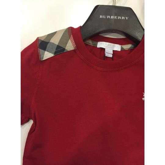1437e1633724 Burberry Boys Lencel Childrens Size  5y T Shirt Red With Check Print hot  sale 2017