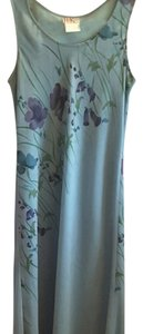 Aqua blue with purple and green floral pattern Maxi Dress by R&K Originals