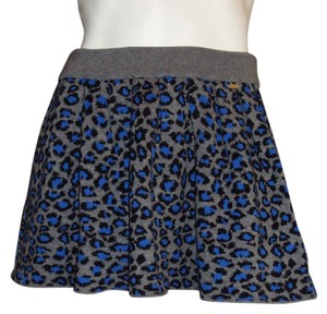 Aeropostale Leopard Cheetah Print Knit Retro Punk Grunge Small Medium Animal Mini Stretchy Skater Aero Mini Skirt Gray