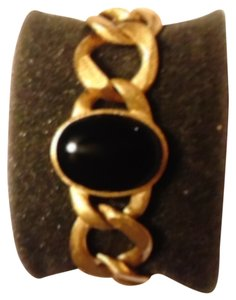 Rivka Friedman 18k Gold Clad Curb Link Bracelet with Black Onyx cabochon,