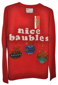 "French Atmosphere Silly Christmas Christmas Party Funny Humor Joke Christmas Themed Ornaments Size Xl Comfy ""Nice Baubles"" Never Worn Sweater"